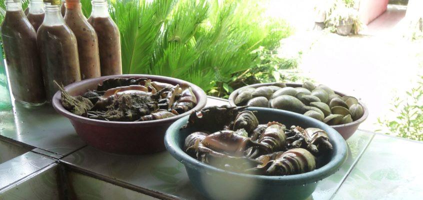 Über dem Wasser Fischgerichte speisen