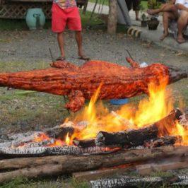 PHILIPPINEN REISEN BLOG - Exotisches Essen - Gegrilltes Krokodil