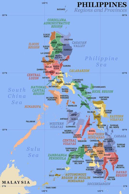 PHILIPPINEN REISEN - Orte - Karte der Provinzen