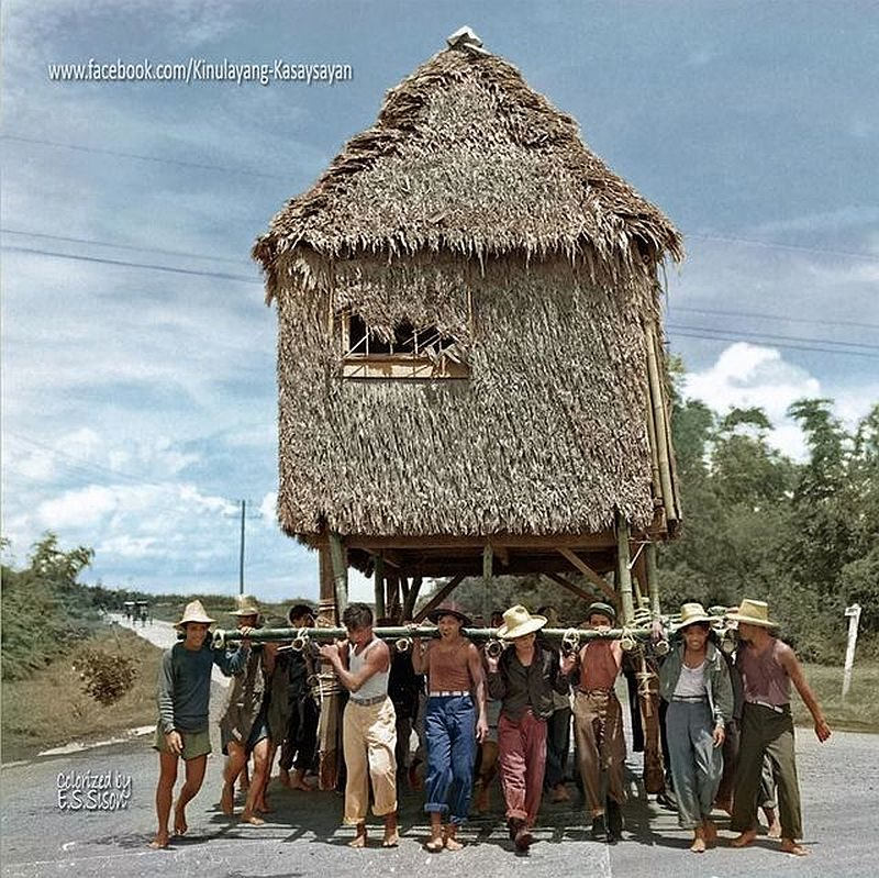 """PHILIPPINEN REISEN - GESCHICHTE - COLORIERTE FOTOS - Photograph from Carl Mydans/LIFE Photo Collection. Colorized by E.S. Sison of """"Kinulayang Kasaysayan."""